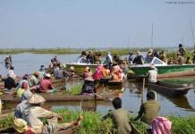 Argument between the LDA officials and the local fishermen at Langol Sabhi pat area of Lokatak on Saturday