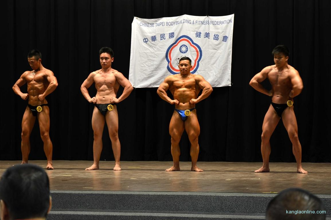 Dr. Ngangbam Shantikumar Meetei displaying Front Lat Spread for the Mr Senior Title at Taiwan National Body Building Championship - 2013