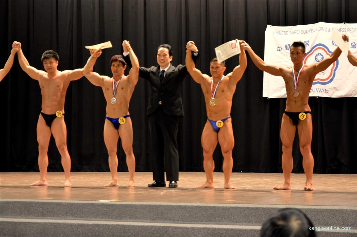 Dr. Ngangbam Shantikumar Meetei winning the Mr Senior Title at Taiwan National Body Building Championship - 2013