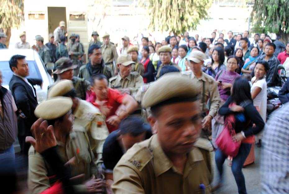 Police escorting the two TG School rape accused Tarun (Red T-Shirt) and William (Black) on Monday.