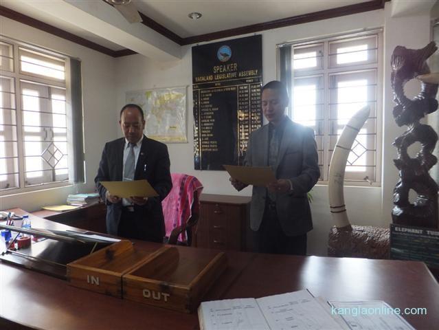 Nagaland Assembly Speaker Chotisuh Sazo (left) seen administering to newly elected Member of NLA Toyang Changkong Chang at Spea
