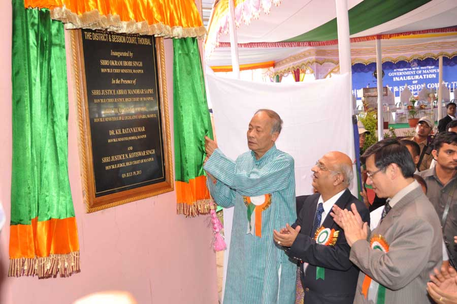 Chief Minister Okram Ibobi Singh along with Manipur High Court Chief Justice Abhay Manohar Sapre inaugurated a District and Session Court in Thoubal district at the court complex on Friday.