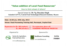 """Lecture on """"Value addition of Local Food Resources"""""""