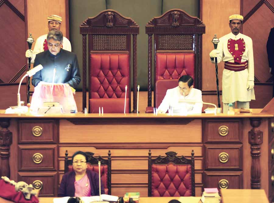 Manipur Governor VK Duggal adressing the assembly on Monday