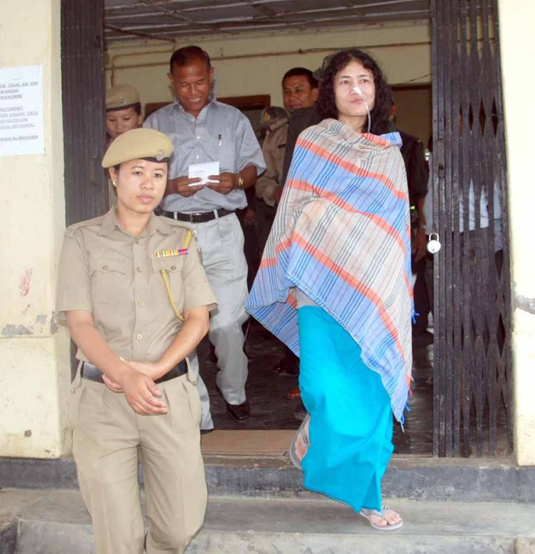 Sharmila coming out of the court room