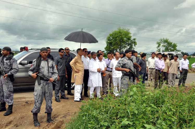 Chief Minister Okram Ibobi Singh during his trip to Kakching on Sunday.