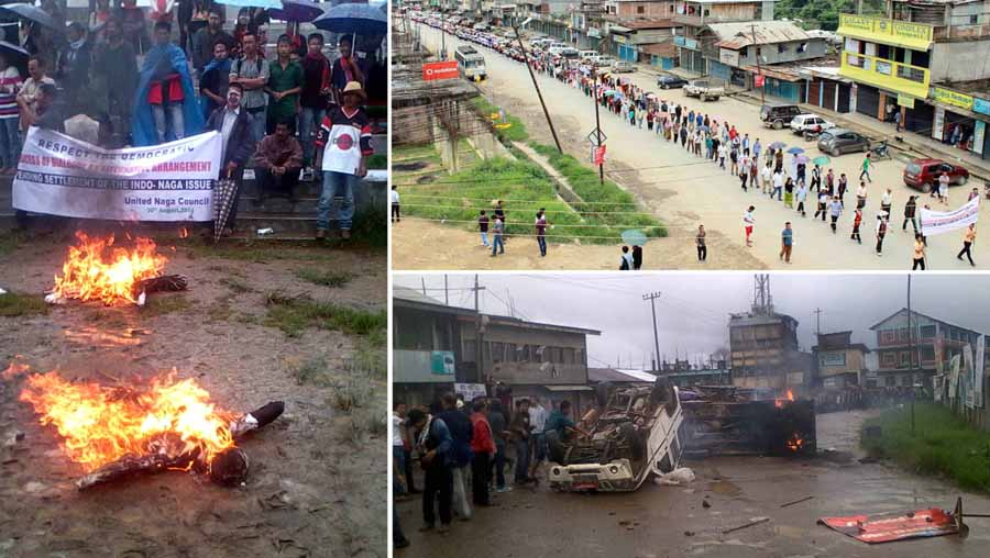 Protestors burn effigies of Chief Minister Okram Ibobi Singh and his deputy Gaikhangam at Ukhrul; People participating in the rally at Senapati and protestors stand nearby two vehicles set ablaze in Ukhrul.