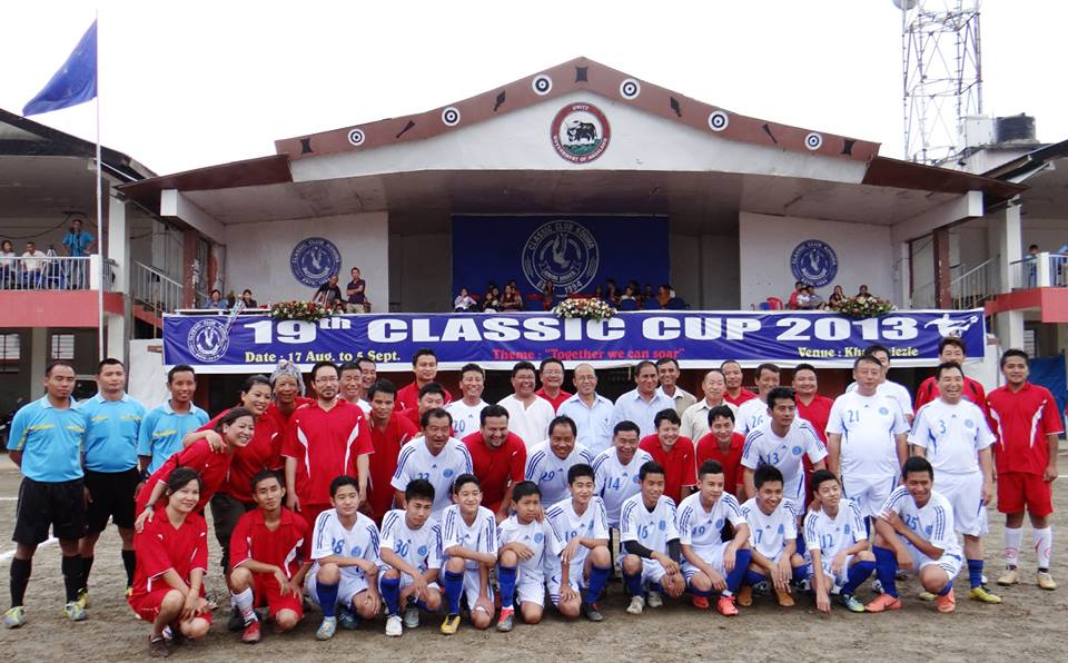 Kohima Press Club team in red jersey and Classic Club team in white jersey before their Challenger Cup 2013 match at Kohima Local Ground (file photo)