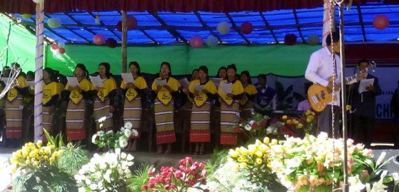 A choir singers during the centenary celebration of the Inpui Naga Baptist Churches Association.