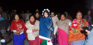 Irom Sharmila being escorted by SAKAL members after her release from judicial custody.