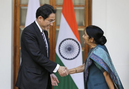 Japanese Foreign Minister Fumio Kishida shakes hand with External Affairs Minister Sushma Swaraj in New Delhi on January 17. (Photo: AP) Read more at: http://indiatoday.intoday.in/story/china-slams-japan-on-arunachal-pradesh-controversy-hong-lei-fumio-kishida-sushma-swaraj/1/414105.html