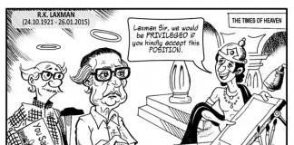 RK Laxman Tribute Cartoon by Manas Maisnam