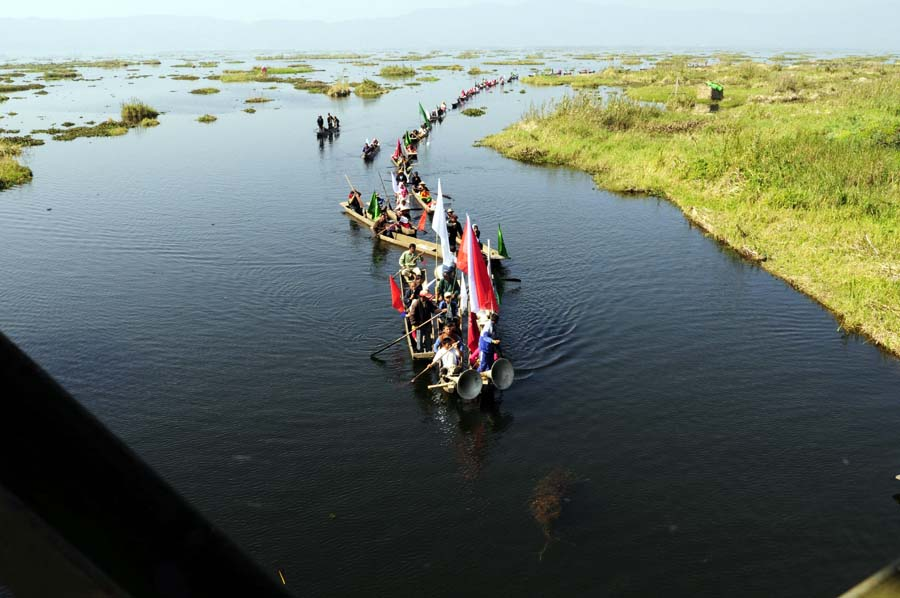 Boats lined up at Loktak lake during the World Wetland Day observation.