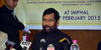 Union Minister of Consumer Affairs, Food and Public Distribution Ram Vilas Paswan at a press conference at Hotel Imphal.