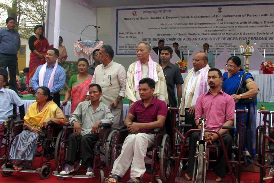 Disabled persons with wheelchairs gifted during the function
