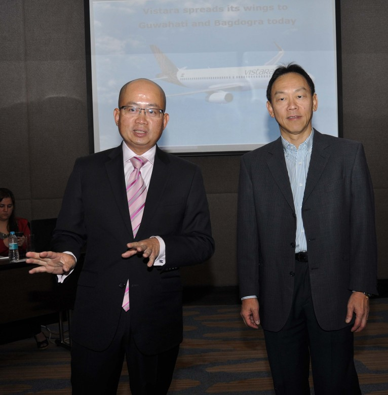 Mr. Phee Teik Yeoh CEO and Mr. Giam Ming Toh, CCO of Vistara while addressing the media at Hotel Radisson Blu in Guiwahati on Thursday