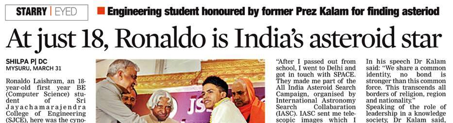 Ronaldo Laishram featured in Deccan Chronicle