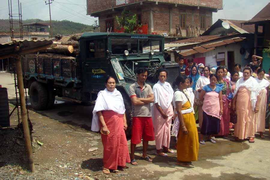 Locals seize pine tree - laden truck