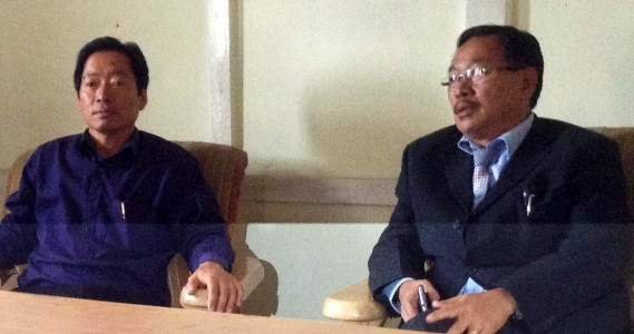 NPCC President K Therie (right) addressing Press Conference at Congress Bhavan, Kohima on May 12, 2015. NPCC Secretary (Admin) Medokul Sophie also seen here.