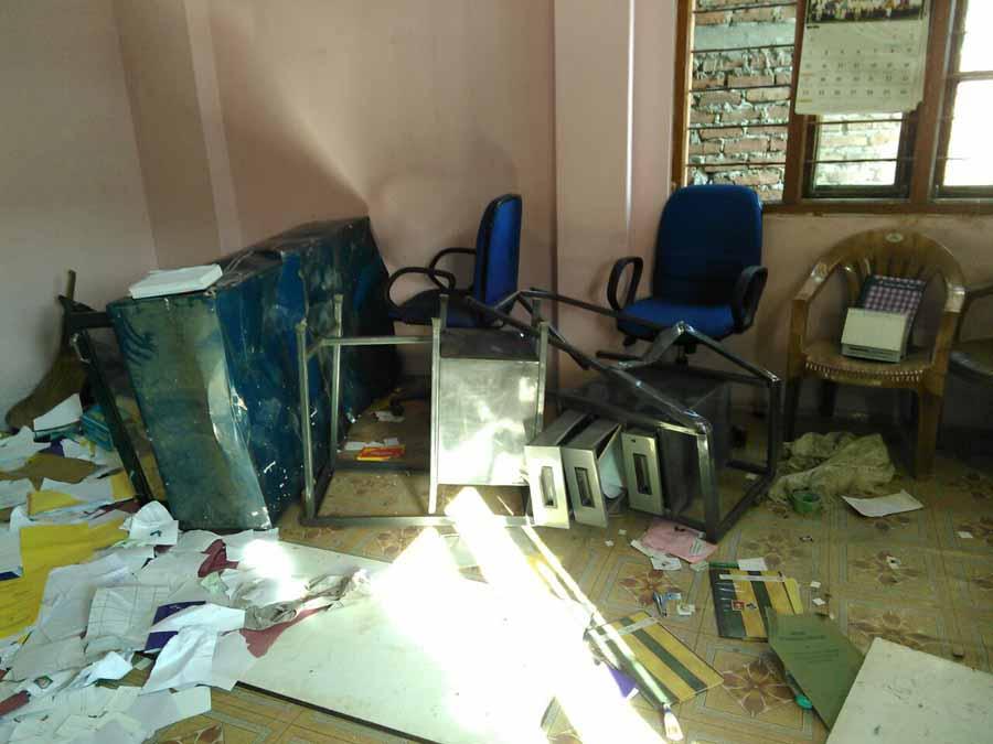 The ransacked office of the NPF.