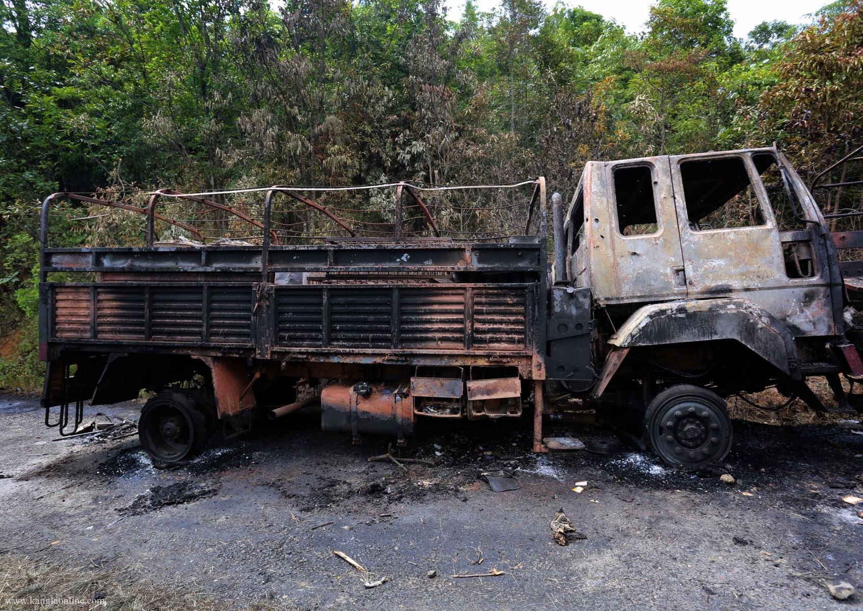 6th Dogra Regiment's truck ambushed by militants at Paorolon, Chandel District, Manipur.  Photo by Deepak Shijagurumayum.