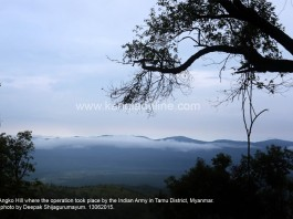 View of Angko Hill where the operation took place by the Indian Army in Tamu District, Myanmar. Express photo by Deepak Shijagurumayum