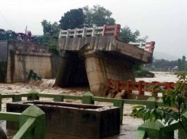 Parts of Litan Bridge which was were left standing after the bridge collapsed.