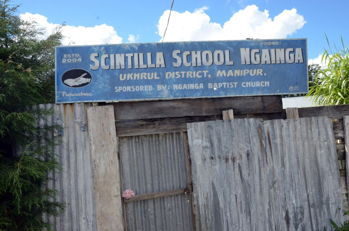 Ngainga Church sponsored school hoardings. Photo- Chingtham Balbir Khuman
