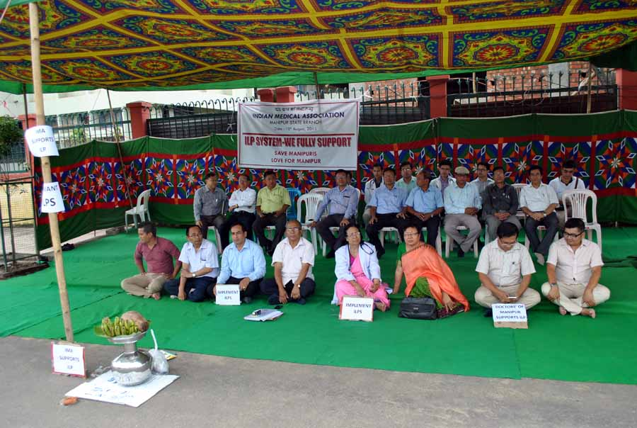 Manipur Doctors during a sit in protest in support of the ILP movement at RIMS gate