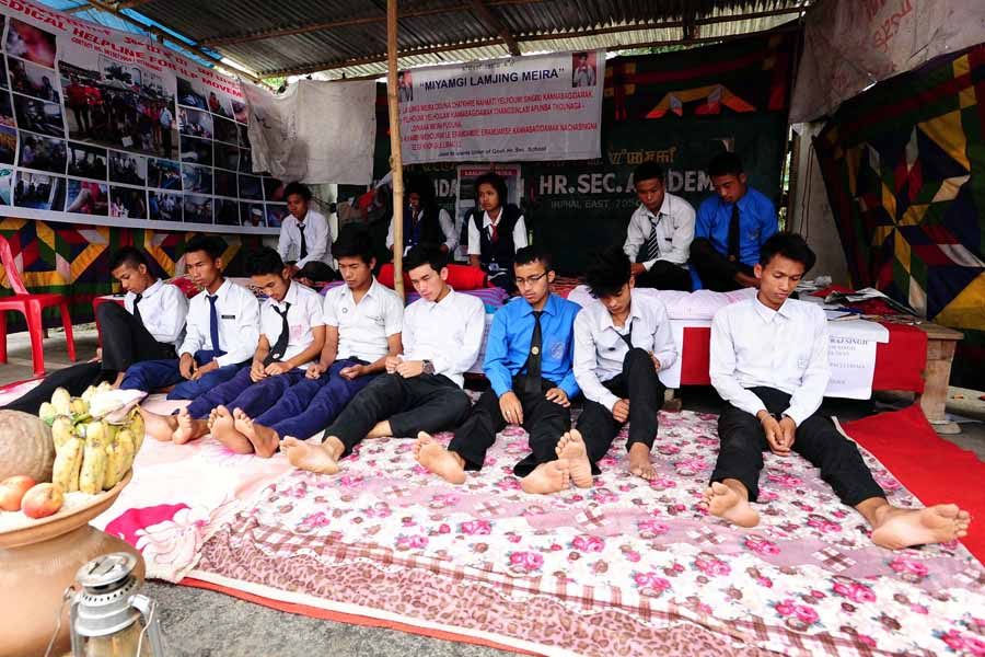 The students who escaped from the Observation Home continuing their hunger strike.