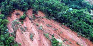 A photo of the landslide at Joumol Village, Chandel Manipur