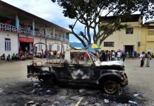 BSF's gypsy has been burnt down by the agitators inside the Churachandpur hospital