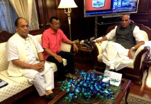 BJP Manipur president Th Chaoba meeting with the Union Home Minister Rajnath Singh.