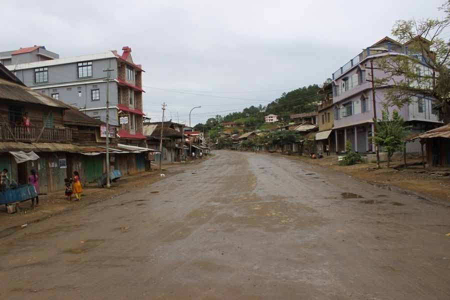 A deserted road in Chandel during the CoPotR bandh.