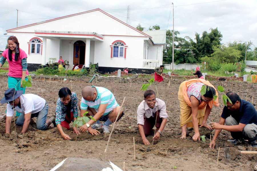 Director Sericulture planting Mulberry saplings at Sangaipat