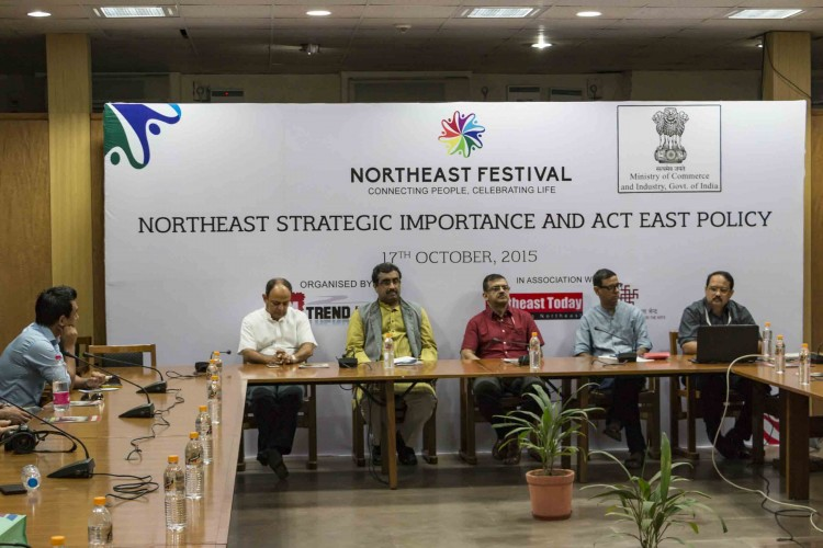 """High level discussion on 'North East's strategic importance to India and Act East Policy' at North East Festival 2015 New Delhi, 17 October 2015: The second afternoon of the 3rd edition of the North East Festival, currently underway at IGNCA in the capital saw an engaging and lively discussion on the 'North East's strategic importance to India and Act East policy'. The session featured high level panelists such as Mr. Ram Madhav, National General Secretary, BJP; Mr. Ravi Capoor, Joint Secretary, Ministry of Commerce, Government of India; Mr. AM Singh, Joint Secretary, Ministry of DoNER, Government of India, Dr. Nani Gopal Mahanta, Professor, University of Gauhati and Mr. Shyamkanu Mahanta, Organiser-in-chief, North East Festival. The session was moderated by well known journalist Kishalay Bhattacharjee. As a topic, North East's strategic importance is of paramount significance to the development of the North East region, and saw active and enthusiastic participation from representatives of all the states of the region. In his opening remarks, Mr. Shyamkanu Mahanta, Organiser-in-chief, North East Festival said, """"There is a need to promote the North East and build bridges with the rest of the country. We also need to create a positive perception about the region, so that investors and businesses see the North East as a viable option."""" Speaking at the conference, Dr. Nani Gopal Mahanta, Professor, University of Gauhati said, """"It is often said that since the North Eastern region is landlocked, development and commerce is a problem. I believe that North East can develop on its own. As a region, it historically had seamless connectivity with South East Asian and South Asian countries and that should be looked at once again. What is required is integration of road, rail and water transport and people to people connect. """" In his address, Mr. Ram Madhav, National General Secretary, BJP said, """"The emotional disconnect between the people of North East and the rest of t"""