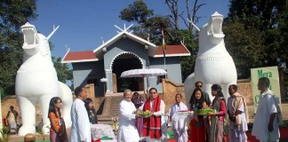 Pot lannaba (exchange of gifts) between Dy CM Gaikhangam and Oinam MLA Ibohalbi Singh at Kangla.