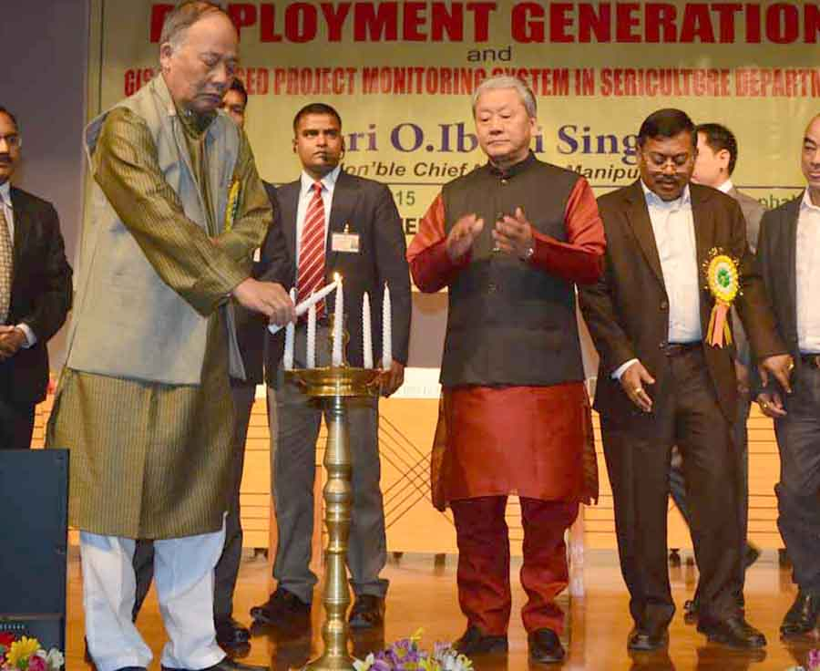 CM Ibobi lighting the inaugural lamp of the 'Make in Manipur' for Employment Generation at City Convention Centre. IFP Photo.