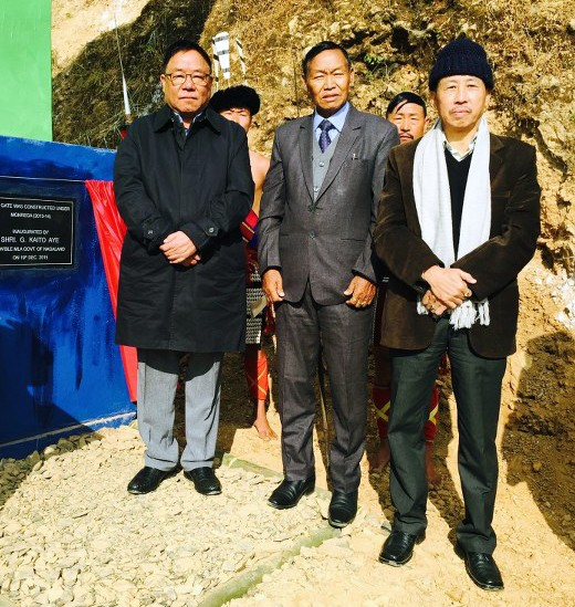 G Kaito Aye (left), former Minister and senior NPF MLA, Huskha Yepthomi (middle), Chairman AMPC and Temsu Longkumer (right), DC Zunheboto after inauguration of Zungti Village Gate at Zungti Village on December 19, 2015