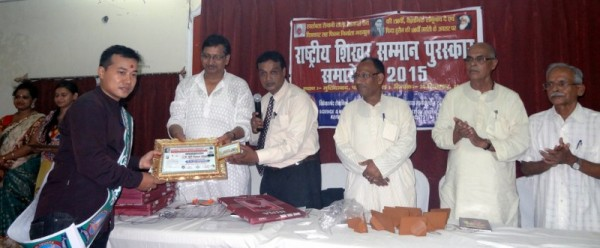 Mayanglambam Ojit Kumar Singh receiving the National Honour Award 2015