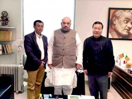 BJP Manipur leaders with the party's national president Amit Shah in New Delhi.