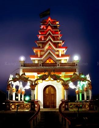 Ebudhou Pakhanba Temple at MMRC Park Khangabok - Night View