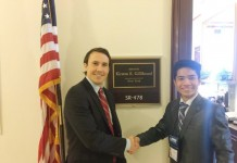Farooq Alam (15) a student from Manipur with US Senator Kirsten E Gillibrand.