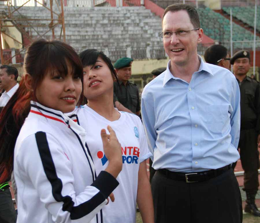 US Consul General, Craig Hall interacting with young baseball players in Imphal. IFP Photo