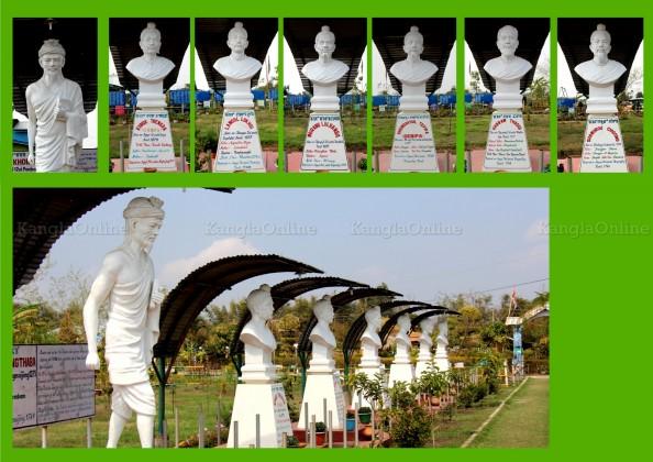 Sculptures Representing Seven Divine Maichous (Scholars) of Meetei Meitei at MMRC Park Khangabok Manipur