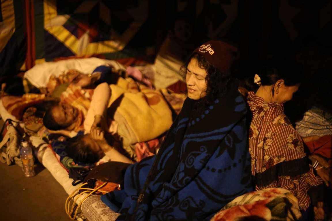 Irom Sharmila continues her hunger strike at Sahid Minar on Monday at Imphal, Manipur. Photo by Deepak Shijagurumayum.