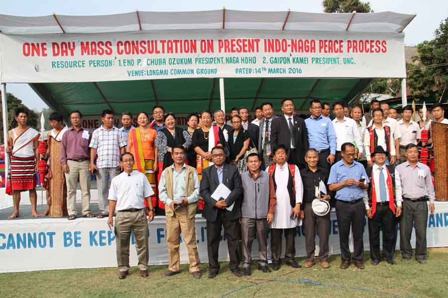 Leaders of the Naga Hoho, UNC and others posing for the lens during the consultative meeting. IFP Photo