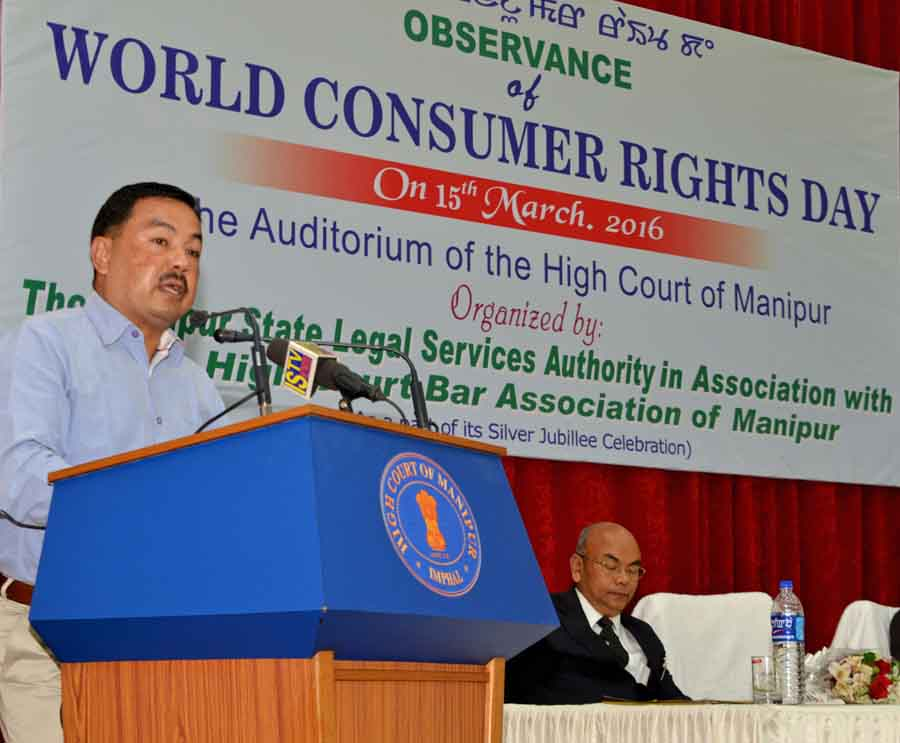 Minister Okendro speaking at the World Consumers Day observation. IFP Photo