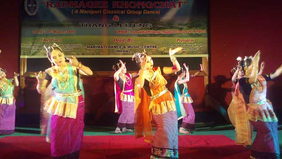 "Harimati Dance and Music Center artist performing ""Radhagi Khongchat"" at Lamyanba Sanglen. IFP Photo"