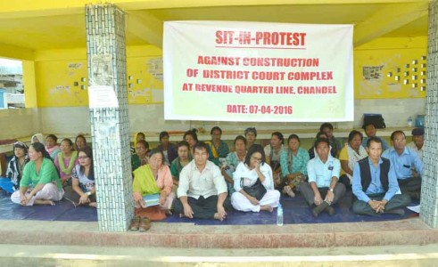 Registering strong protest against the plan of the State government and District Administration Chandel to construct a court complex for the district at Revenue Quarter Line, a sit-in-protest was staged by locals at DC Lamkhai today. IFP Photo